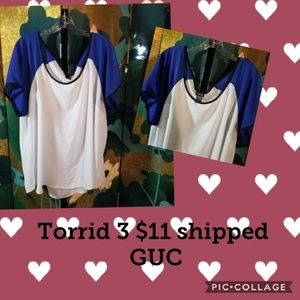 Torrid flowy baseball sleeve top